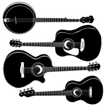 Acoustic Guitars And Banjo In Detailed Vector Silhouette.