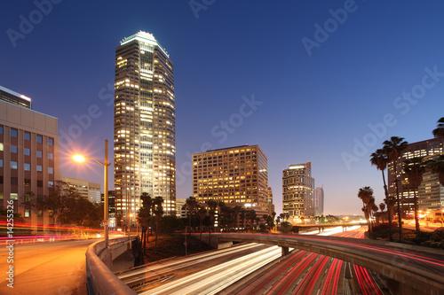 Etiqueta engomada - Downtown Los Angeles night view