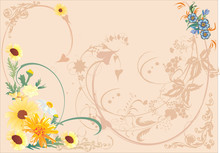 Yellow And Brown Floral Backgr...