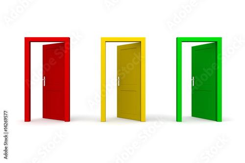 Photo  Three Open Coloured Doors