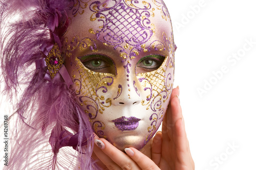 Fototapety, obrazy: ..Beautiful young woman in carnival mask