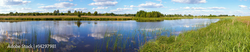 Fotobehang Pool Summer rushy lake panorama