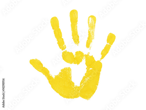 Fototapety, obrazy: Yellow hand print isolated over white background