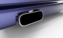 Sporting Muffler Of Dark Blue Car