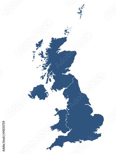 Photo  UK map with white background