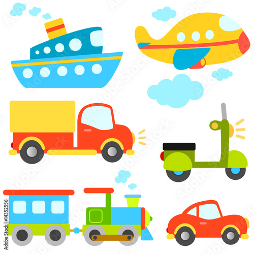 Tuinposter Cartoon cars cartoon vehicles vector