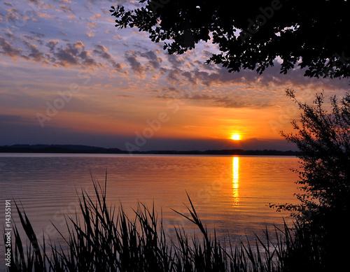 Foto-Schiebegardine Komplettsystem - Sonnenuntergang Chiemsee II