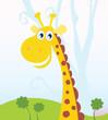 African Giraffe. Vector Illustration of funny animal.