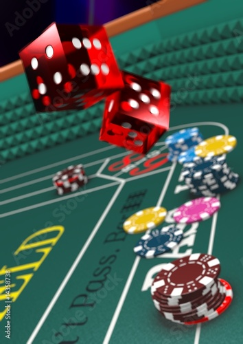 Photo  Craps table version 3 - narrow DOF - dice in motion