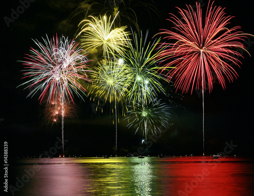 Colorful Fireworks over Lake Poster