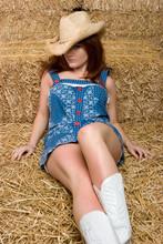 Pretty Girl In Hay