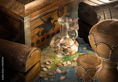 wooden chests with jug and sea shells #14390705