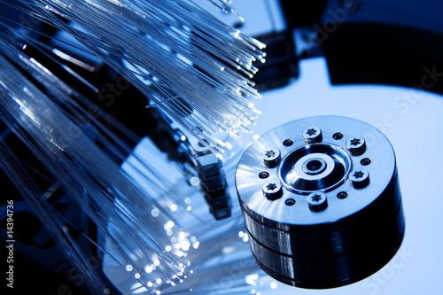 Fotografie, Obraz  Details of computer hard drive with optic fiber