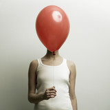 Młoda kobieta z głową - balon - 14398158