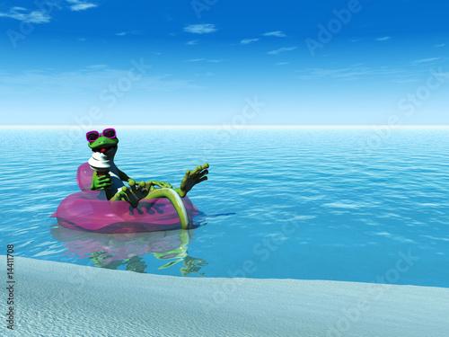 Foto-Rollo premium - Cool cartoon gecko eating ice cream while floating on a bathing (von Sarah Holmlund)