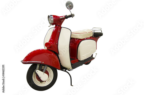 Spoed Foto op Canvas Scooter Vintage red and white scooter (path included)
