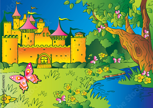 Printed kitchen splashbacks Castle Fairy tale castle