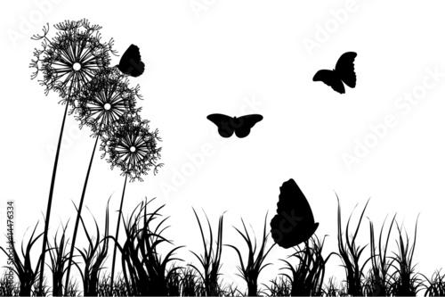 Foto op Aluminium Vlinders in Grunge Floral spring background
