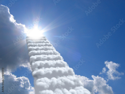 Foto op Canvas Hemel stairs in sky. clouds concept