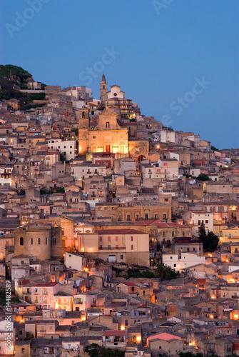 Vászonkép  view of old italian village at twilight