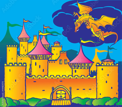 Poster Castle Magic castle and dragon