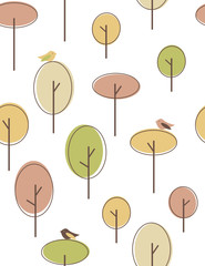 Plakat Autumn trees seamless pattern