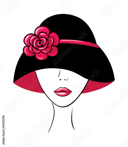 Floral femme Woman in a Hat with Flower