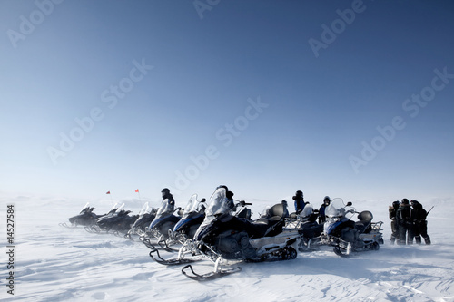 Canvas Prints Arctic Snowmobile Group