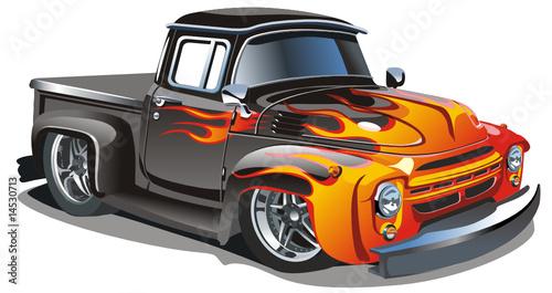 Foto op Canvas Cartoon cars Vector retro cartoon hotrod