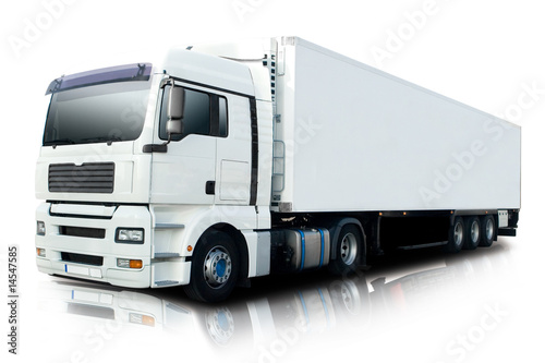 Fotografía  White Semi Truck Isolated
