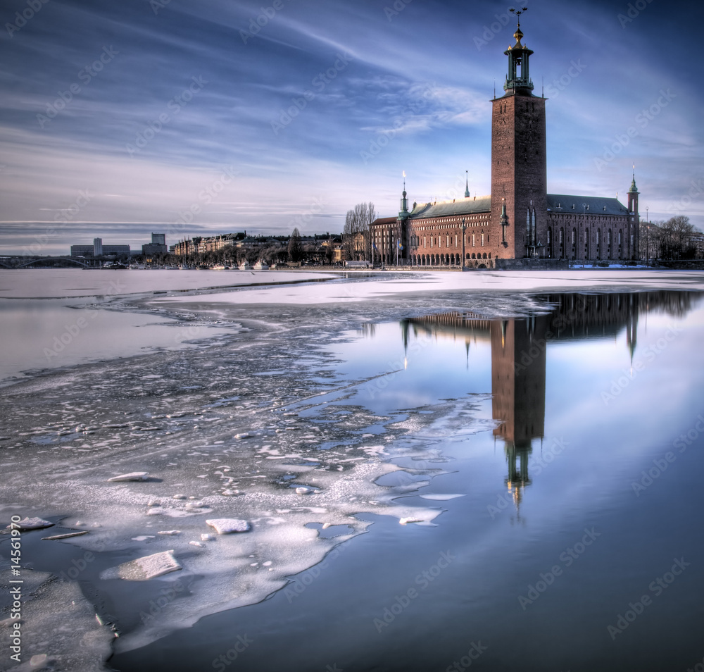 Foto  City hall Stockholm, in winter.