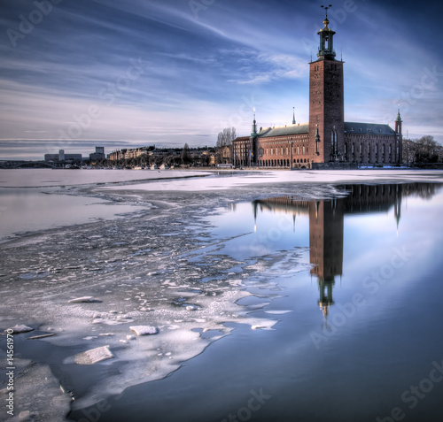 Fotobehang Stockholm City hall Stockholm, in winter.