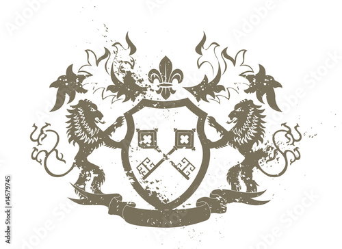 Fototapety, obrazy: Grunge heraldic shield with lions and fleur-de-lis
