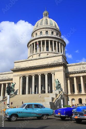 Deurstickers Cubaanse oldtimers Kapitol in Havana