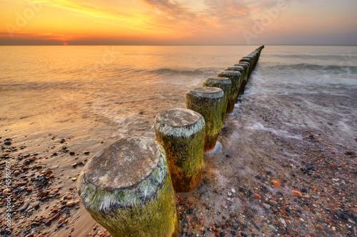Foto-Leinwand - goldener Himmel über dem Meer
