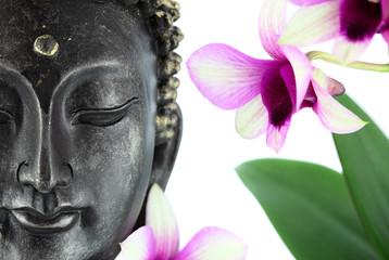 Obraz Bouddha sur fond blanc et fleur d'orchidée