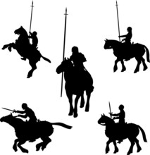 Mounted Knight Silhouettes