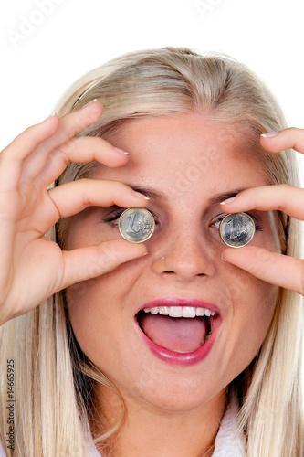 Frau Mit Euro Geld Münzen Vor Den Augen Kaufen Sie Dieses Foto Und