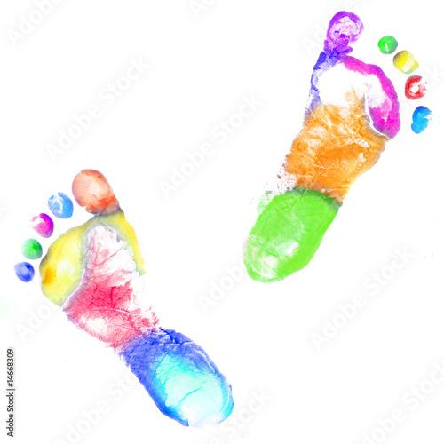 Fényképezés  Multicolor baby footprint