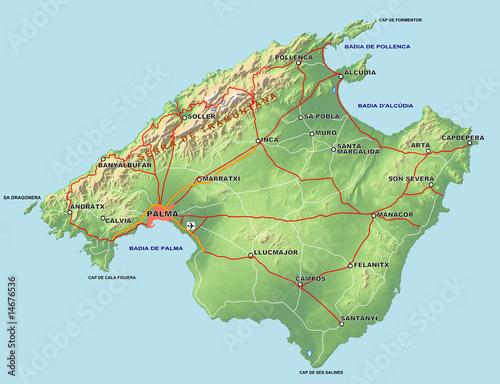 Mallorca Karte Alcudia.Mallorca Karte Mit Relief Buy This Stock Illustration And