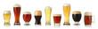 Leinwanddruck Bild - Various glasses of different beers, isolated on white