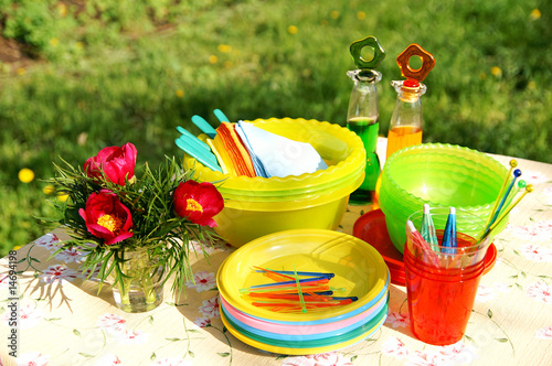 Türaufkleber Picknick Bright color summer picnic plastic accessories, plates and dishe