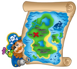 Karta blaga s vrebajućim piratom