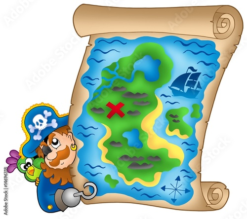 Ingelijste posters Piraten Treasure map with lurking pirate