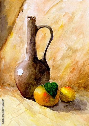 butelka-i-dwie-pomarancze-akwarela