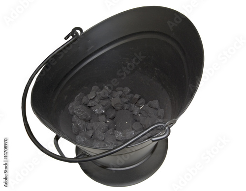 Valokuva  inside view of coal bucket isolated on white background
