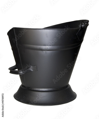 Obraz na plátně  black coal bucket isolated on white background