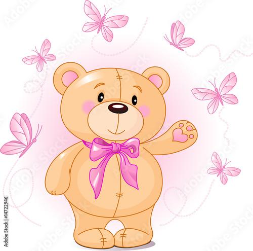 Very cute Teddy Bear waiving hello #14722946
