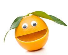 Lachende Orange Mit 2 Blätter.