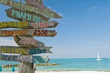 Signpost On Beach In Key West ...